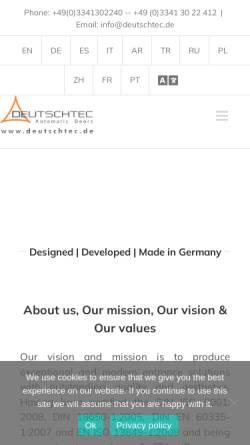 Vorschau der mobilen Webseite www.deutschtec.de, Deutschtec GmbH