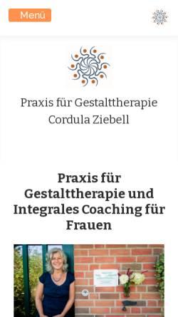 Vorschau der mobilen Webseite www.gestalttherapie-ziebell.de, Praxis für Gestalttherapie Cordula Ziebell