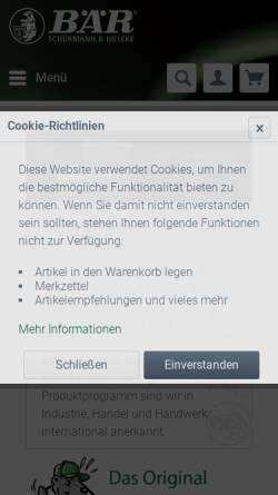 Vorschau der mobilen Webseite www.baer-original.de, Schürmann & Hilleke GmbH & Co. KG