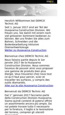 Vorschau der mobilen Webseite www.demco.ch, Demco Technic AG