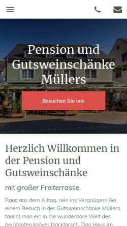 Vorschau der mobilen Webseite www.gutsweinschaenke-muellers.de, Pension und Gutsweinschänke Müllers