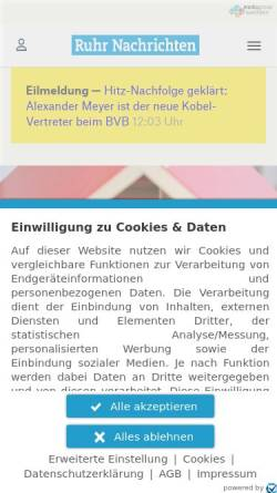 Vorschau der mobilen Webseite www.ruhrnachrichten.de, RuhrNachrichten.de