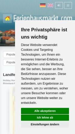 Vorschau der mobilen Webseite www.ferienhausmarkt.com, Landferienhaus Kleine Post