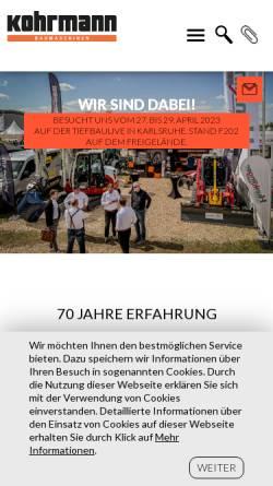 Vorschau der mobilen Webseite www.kohrmann-baumaschinen.de, Kohrmann Baumaschinen GmbH
