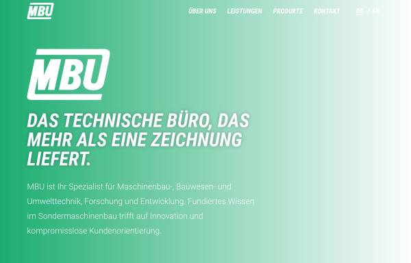 Vorschau von www.mbu.at, MBU Maschinenbau- Bauwesen- und Umwelttechnik- Forschungs- und Entwicklungs.m.b.H