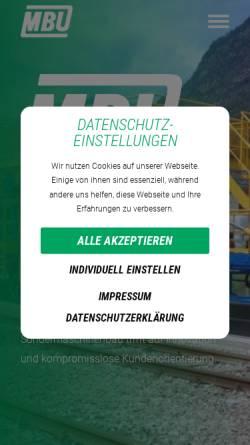 Vorschau der mobilen Webseite www.mbu.at, MBU Maschinenbau- Bauwesen- und Umwelttechnik- Forschungs- und Entwicklungs.m.b.H
