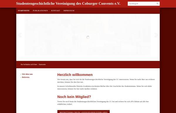Vorschau von www.studentengeschichte.cc, Studentengeschichtliche Vereinigung des CC e. V.