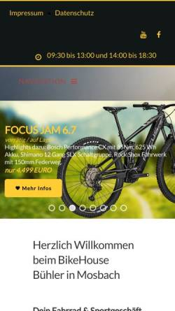 Vorschau der mobilen Webseite www.bikehouse-buehler.de, Bikehouse Bühler