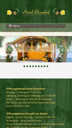 Vorschau der mobilen Webseite www.hotel-elisenhof.de, Hotel-Restaurant Elisenhof