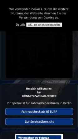 Vorschau der mobilen Webseite www.berlin-bikes.de, Gönnes Zweiradcenter Berlin