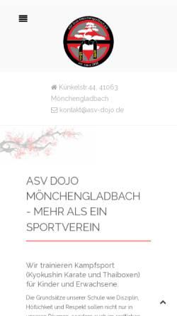 Vorschau der mobilen Webseite www.asv-dojo.de, Dojo Asiatische Körperschulung