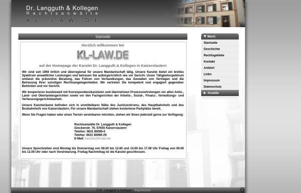 Vorschau von www.kl-law.de, Dr. Langguth & Kollegen Rechtsanwälte