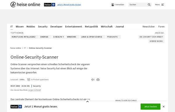 Vorschau von www.heise.de, Heise Security - Online-Sicherheitstests für Heimanwender