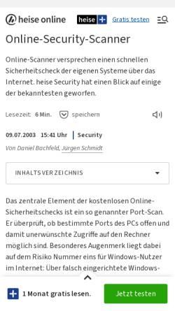 Vorschau der mobilen Webseite www.heise.de, Heise Security - Online-Sicherheitstests für Heimanwender
