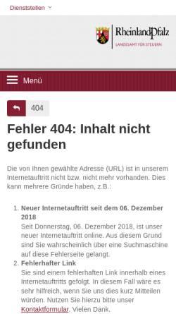 Vorschau der mobilen Webseite www.fin-rlp.de, Besitz- und Verkehrsteuerabteilung der Oberfinanzdirektion Koblenz