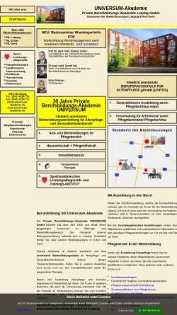 Vorschau der mobilen Webseite www.universum-akademie.de, Universum - Private Berufsbildungs-Akademie GmbH