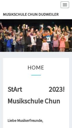 Vorschau der mobilen Webseite www.musikschule-chun.de, Musikschule Chun Dudweiler