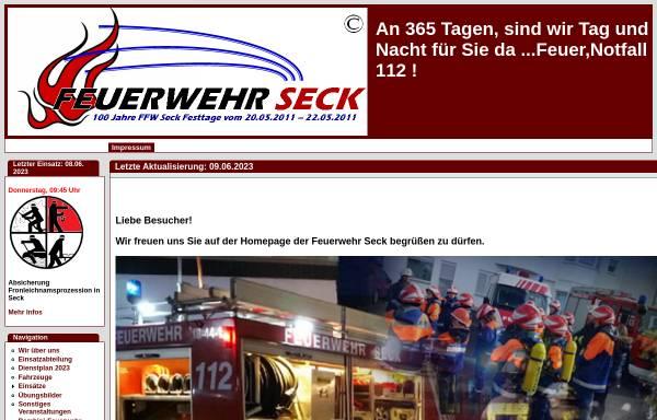 Vorschau von www.feuerwehr-seck.de, Freiwillige Feuerwehr Seck