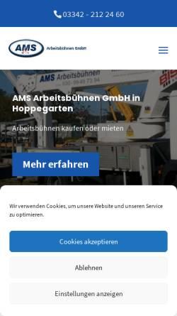 Vorschau der mobilen Webseite www.ams-arbeitsbuehnen.de, AMS Arbeitsbühnen GmbH