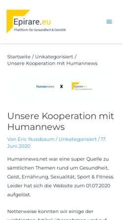 Vorschau der mobilen Webseite www.humannews.de, Humannews