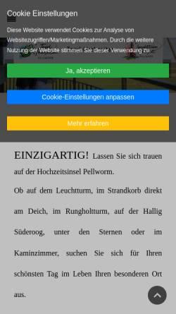Vorschau der mobilen Webseite www.leuchtturm-hochzeit.de, Leuchtturmhochzeit - Hochzeit