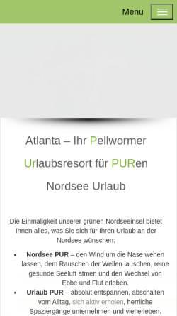 Vorschau der mobilen Webseite www.fewo-nordsee-pellworm.de, Appartements Atlanta