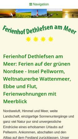 Vorschau der mobilen Webseite www.ferienhof-dethlefsen.de, Ferienhof Familie Dethlefsen