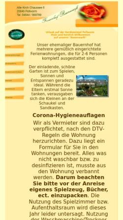 Vorschau der mobilen Webseite www.ferienhof-rosenwarft.de, Ferienhof Rosenwarft