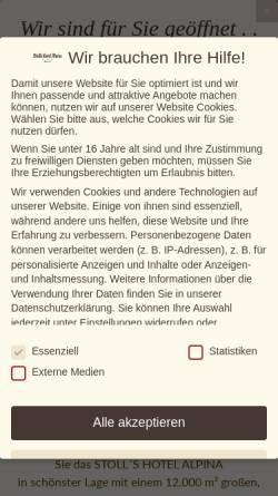 Vorschau der mobilen Webseite stolls-hotel-alpina.de, Stoll's Hotel Alpina