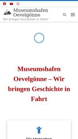 Vorschau der mobilen Webseite www.museumshafen-oevelgoenne.de, Museumshafen Oevelgoenne