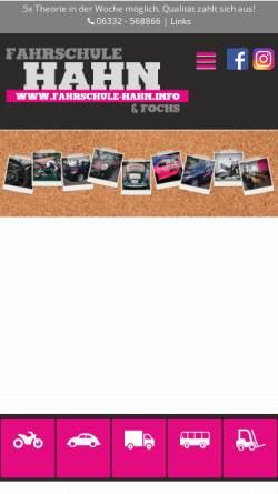 Vorschau der mobilen Webseite www.fahrschule-hahn.info, Fahrschule Hahn und Fochs