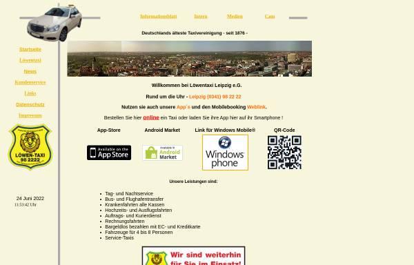 Vorschau von www.loewentaxi.de, Löwentaxi Leipzig eG
