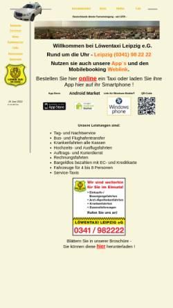 Vorschau der mobilen Webseite www.loewentaxi.de, Löwentaxi Leipzig eG
