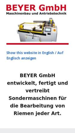 Vorschau der mobilen Webseite www.beyergmbh.de, Beyer GmbH - Maschinenbau und Antriebstechnik