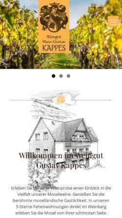 Vorschau der mobilen Webseite www.fewo-kappes.de, Wein und Gästehaus Kappes