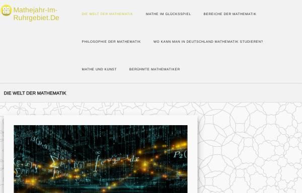 Vorschau von www.mathejahr-im-ruhrgebiet.de, Jahr der Mathematik