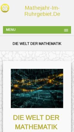 Vorschau der mobilen Webseite www.mathejahr-im-ruhrgebiet.de, Jahr der Mathematik