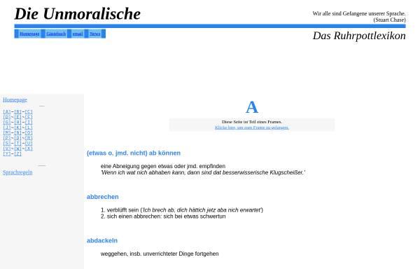 Vorschau von www.unmoralische.de, Die Unmoralische - Das Ruhrpottlexikon