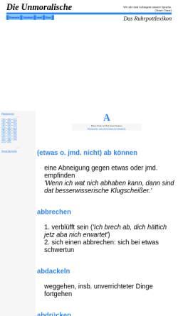 Vorschau der mobilen Webseite www.unmoralische.de, Die Unmoralische - Das Ruhrpottlexikon