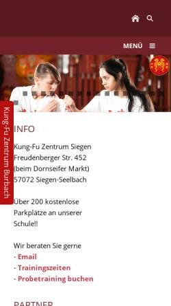 Vorschau der mobilen Webseite www.kungfu-siegen.de, Kung-Fu im Siegerland