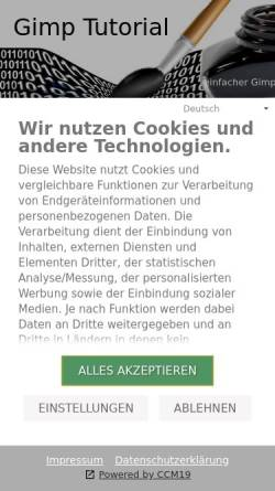 Vorschau der mobilen Webseite www.gimp-tutorials.de, Gimp Tutorials