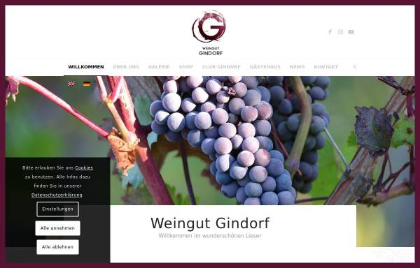 Vorschau von www.weinguthgindorf.com, Weingut H. Gindorf und Gästehaus
