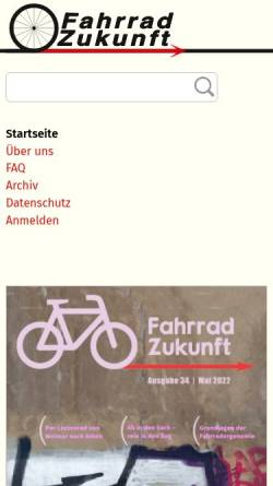 Vorschau der mobilen Webseite www.fahrradzukunft.de, Fahrradzukunft