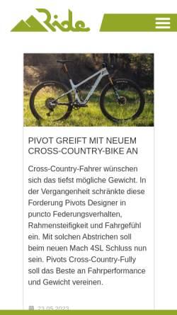 Vorschau der mobilen Webseite www.ride.ch, Ride