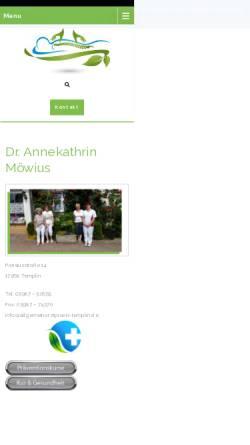 Vorschau der mobilen Webseite www.allgemeinarztpraxis-templin.de, Dr. med. Annekathrin Möwius