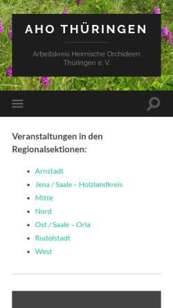 Vorschau der mobilen Webseite www.aho-thueringen.de, Arbeitskreis Heimische Orchideen Thüringen e.V.