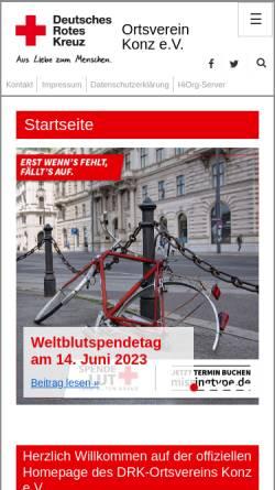 Vorschau der mobilen Webseite www.drk-konz.de, DRK Ortsverein Konz e.V.