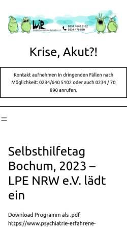 Vorschau der mobilen Webseite www.weglaufhaus-nrw.de, Weglaufhaus-Initiative Ruhrgebiet e.V.