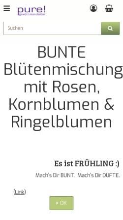 Vorschau der mobilen Webseite www.pure-gewuerze.de, Pure Gewürze, Kirsten van Hees