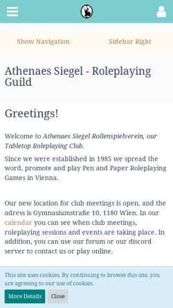 Vorschau der mobilen Webseite www.athenaes-siegel.at, Athenaes Siegel - Rollenspielverein